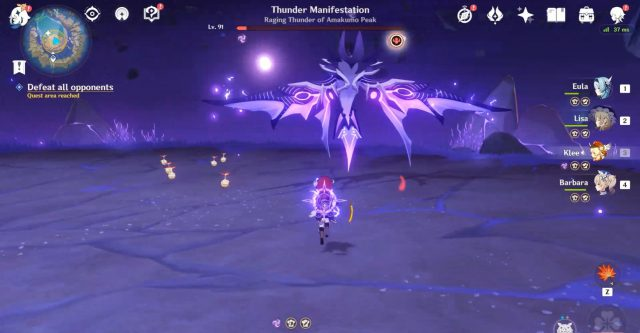 How to unlock and defeat Genshin Impact Thunder Manifestation location image of the boss in flight
