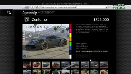 gtav vehicle Pegassi Zentorno middle size